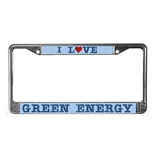 I Love Green Energy License Plate Frame