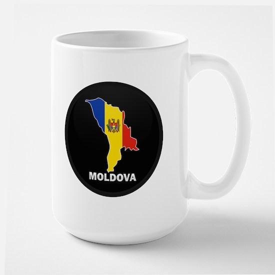 Flag Map of Moldova Large Mug
