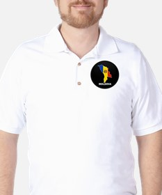 Flag Map of Moldova Golf Shirt
