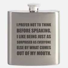 Think Before Speaking Surprise Flask