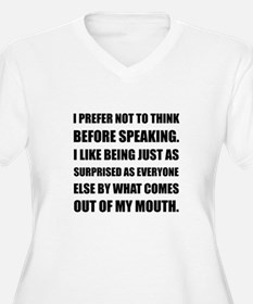 Think Before Speaking Surprise Plus Size T-Shirt