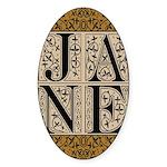 Jane Austen Block Letters Oval Sticker