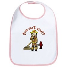 Blonde Firefighter Girl Bib