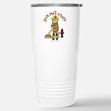 Blonde Firefighter Girl Travel Mug