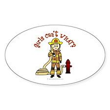 Blonde Firefighter Girl Stickers