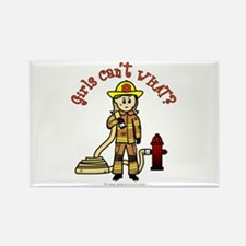 Blonde Firefighter Girl Rectangle Magnet