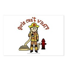 Blonde Firefighter Girl Postcards (Package of 8)
