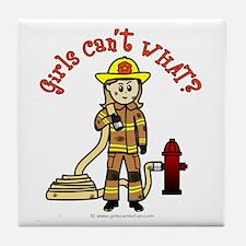 Blonde Firefighter Girl Tile Coaster