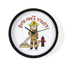 Blonde Firefighter Girl Wall Clock