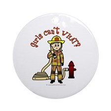 Blonde Firefighter Girl Ornament (Round)