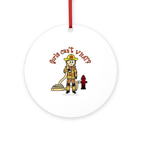 Blonde Firefighter Girl Ornament (Round)