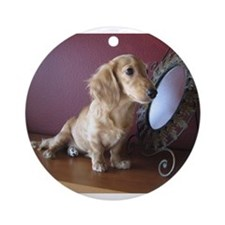 Cream Doxie Ornament (Round)