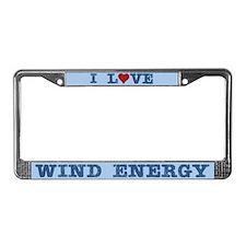 I Love Wind Energy License Plate Frame