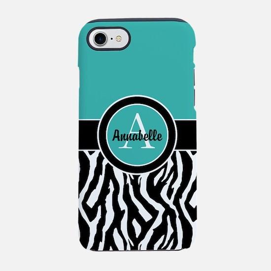 Teal Zebra Monogram Personalized iPhone 7 Tough Ca