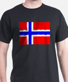 Norwegian Flag (Rectangle) Black T-Shirt