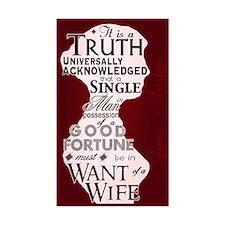 Jane Austen Truth Quote Rectangle Bumper Stickers
