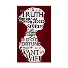 Jane Austen Truth Quote Rectangle Decal