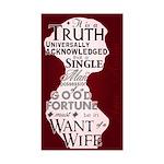 Jane Austen Truth Quote Rectangle Sticker