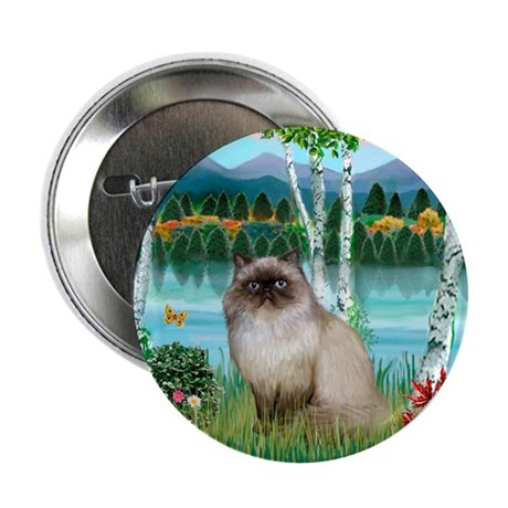"""Birches / Himalayan Cat 2.25"""" Button (10 pack)"""
