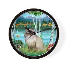 Birches / Himalayan Cat Wall Clock
