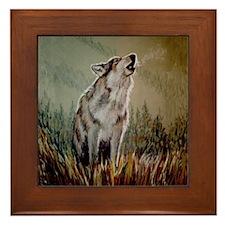 Singing Wolf Framed Tile