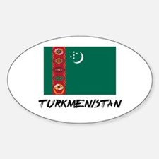 Turkmenistan Flag Oval Decal