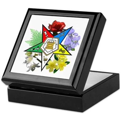 Eastern Star Floral Emblems Keepsake Box