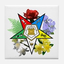 Eastern Star Floral Emblems Tile Coaster