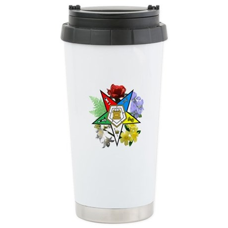 Eastern Star Floral Emblems Stainless Steel Travel