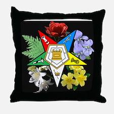 Eastern Star Floral Emblem - Throw Pillow
