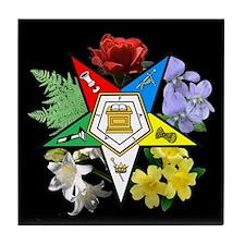 Eastern Star Floral Emblem - Tile Coaster