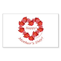 Rose Wreath, Mother's Day Rectangle Decal