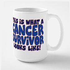CANCER SURVIVOR (BLUE) Large Mug