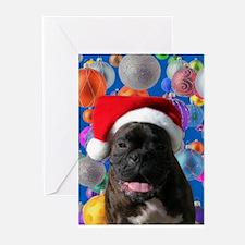 Plain Brindel Boxer Santa Greeting Cards (Package