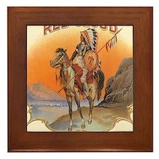 Vintage Cigar Label Art Red Cloud Framed Tile