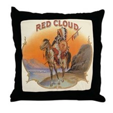 Vintage Cigar Label Art Red Cloud Throw Pillow