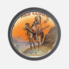 Vintage Cigar Label Art Red Cloud Wall Clock