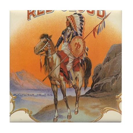 Vintage Cigar Label Art Red Cloud Tile Coaster