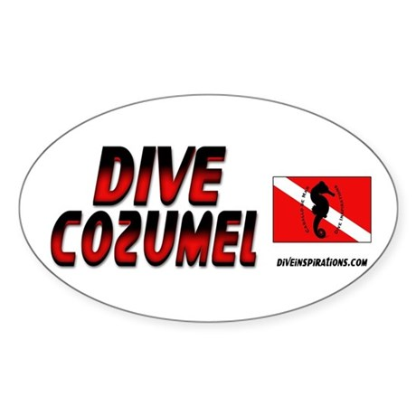 Dive Cozumel (red) Oval Sticker