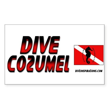 Dive Cozumel (red) Rectangle Sticker