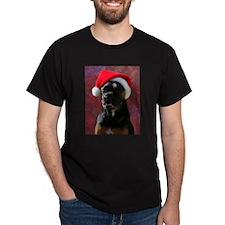 Boxer Rotty Mix Santa Black T-Shirt