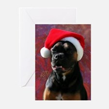 Boxer Rotty Mix Santa Greeting Cards (Pk of 10
