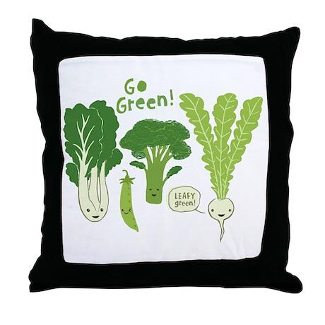 Go Green! Throw Pillow by jennscartoons
