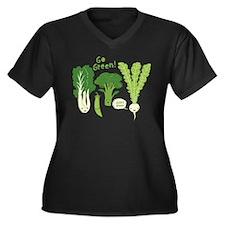 Go Green! Women's Plus Size V-Neck Dark T-Shirt