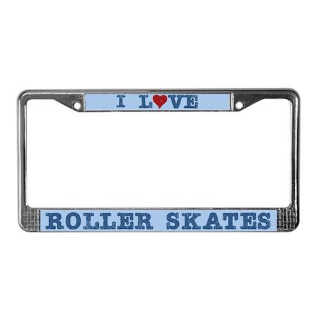 I Love Roller Skates License Plate Frame