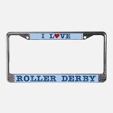 I Love Roller Derby License Plate Frame