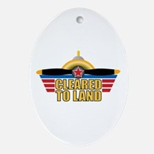 Aviation Cleared To Land Ornament (Oval)