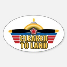 Aviation Cleared To Land Sticker (Oval)
