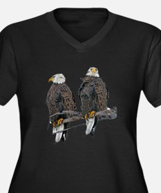 TWIN EAGLES Women's Plus Size V-Neck Dark T-Shirt
