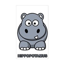 Cartoon Hippopotamus Rectangle Decal